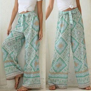 Pants - Floral printing wide leg pants